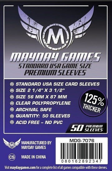 Mayday Games USA Premium Card Sleeves 56mm x 87mm 50CT