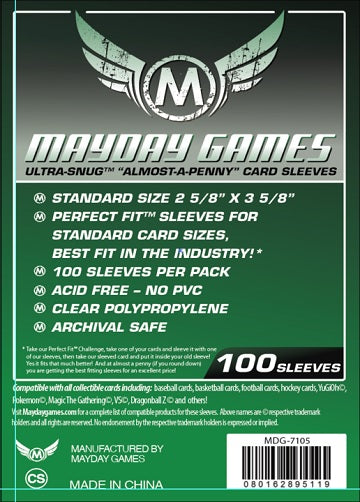 "Mayday Games Ultra-Snug Almost a Penny Card Sleeves 2.5"" x 3.5"" 100CT"