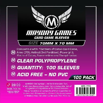 Mayday Games Standard Small Square Card Sleeves 70mm x 70mm 100CT
