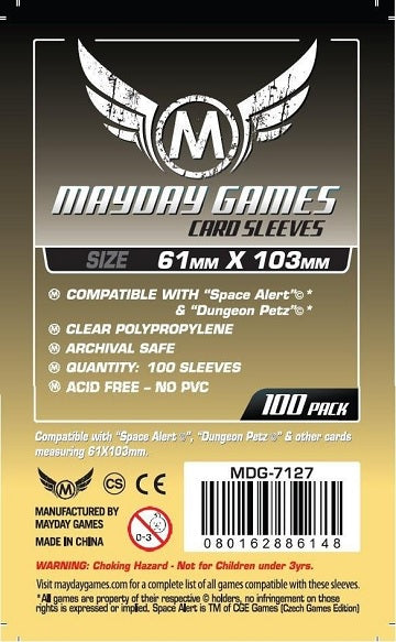 Mayday Games Standard Card Sleeves 61mm x 103mm 100CT