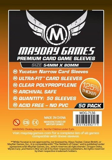 Mayday Games Premium Card Sleeves 54mm x 80mm 50CT