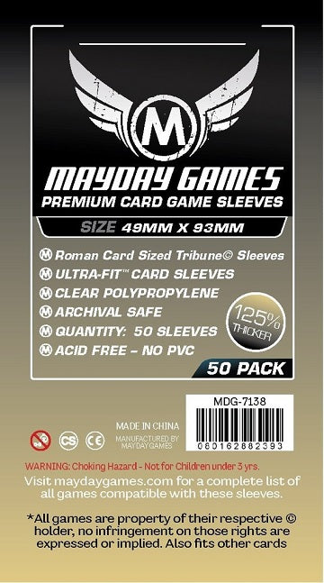 Mayday Games Premium Card Sleeves 49mm x 93mm 50CT