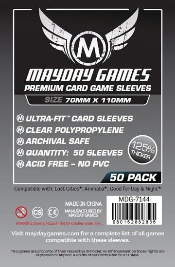 Mayday Games Premium Card Sleeves 70mm x 110mm 50CT