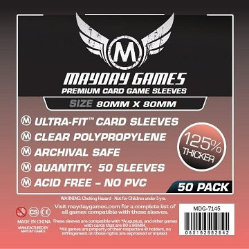 Mayday Games Premium Medium Square Card Sleeves 80mm x 80mm 50CT
