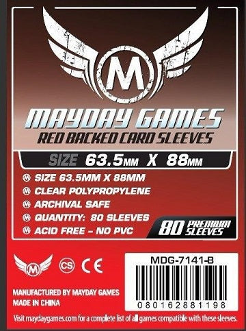 Mayday Games Red Backed Card Sleeves 63.5mm x 88mm 80CT