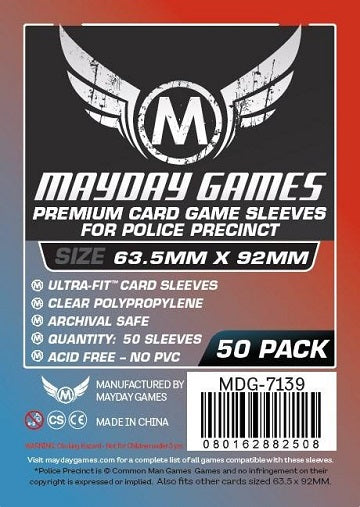 Mayday Games Premium Card Sleeves Police Precinct 63.5mm x 92mm 50CT