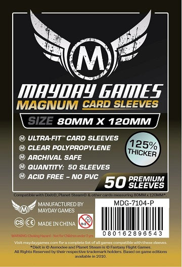 Mayday Games Magnum Premium Card Sleeves Black Backed 80mm x 120mm 50CT