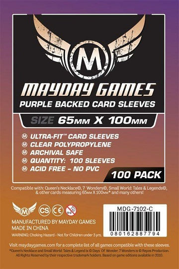 Mayday Games Magnum Purple Backed Card Sleeves 65mm x 100mm 100CT