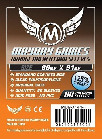 Mayday Games Premium Card Sleeves Orange Backed 66mm x 91mm 80CT