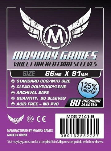 Mayday Games Violet Backed Card Sleeves 66mm x 91mm 80CT