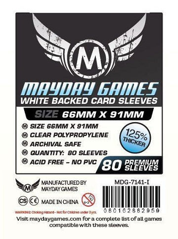 Mayday Games Premium White Backed Card Sleeves 66mm x 91mm 80CT