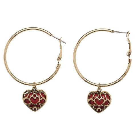 Nintendo - Zelda Pendant Hoop Earrings With Heart Charm