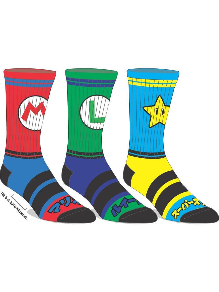 Super Mario - 3 Pair Men's Athletic Socks