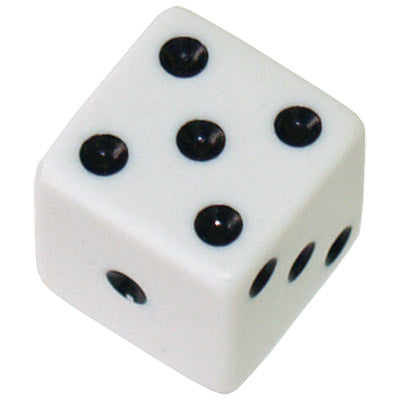 Chessex Opaque White and Black 16MM D6 Single Dice