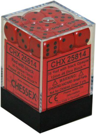 Chessex Red Black 12MM Dice 36D6