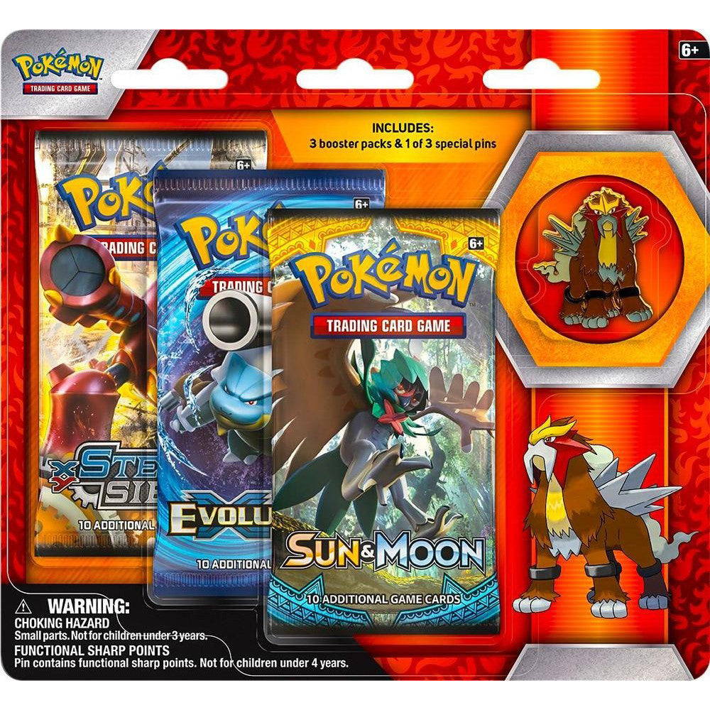 Legendary Beasts Entei Collector's Pin Blister 3 Booster Pack
