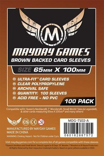 Mayday Games Brown Backed Card Sleeves 65mm x 100mm 100CT