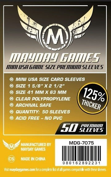 Mayday Games Mini USA Premium Card Sleeves 41mm x 63mm 50CT