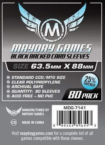 Mayday Games Premium Standard Black Backed Card Sleeves 63.5mm x 88mm 80CT