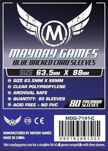 Mayday Games Premium Standard Blue Backed Card Sleeves 63.5mm x 88mm 80CT