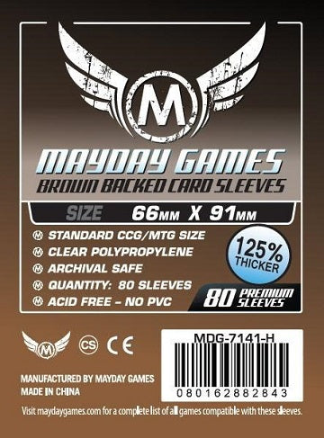 Mayday Games Premium Standard Brown Backed Card Sleeves 63.5mm x 88mm 80CT