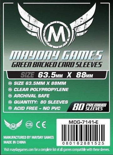Mayday Games Premium Standard Green Backed Card Sleeves 63.5mm x 88mm 80CT