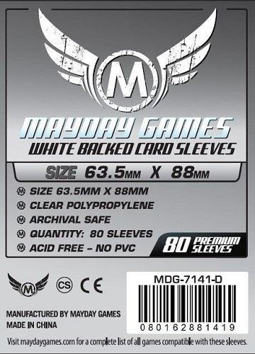 Mayday Games Premium Standard Grey Backed Card Sleeves 63.5mm x 88mm 80CT