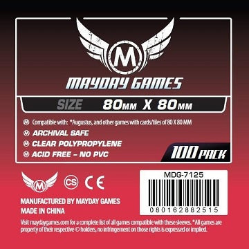 Mayday Games Standard Medium Square Card Sleeves 80mm x 80mm 100CT