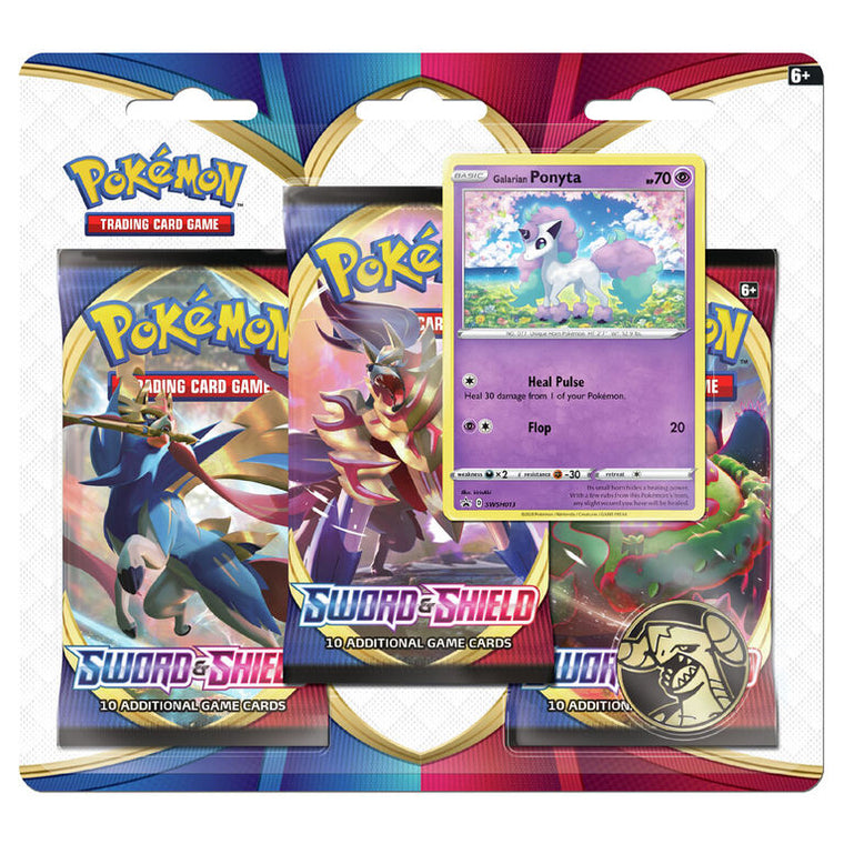 Pokémon Sword & Shield Ponyta 3 Booster Pack Blister