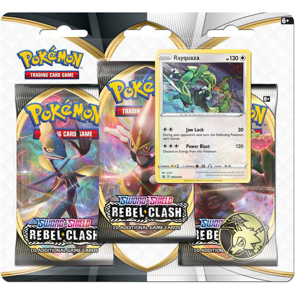 Pokémon Sword & Shield Rebel Clash Rayquaza 3 Booster Pack Blister