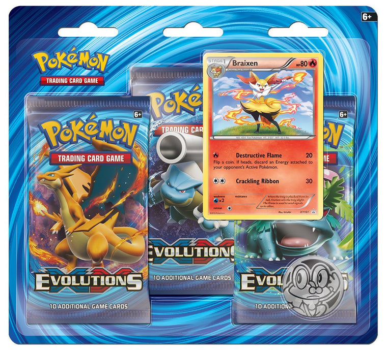 Pokémon XY Evolutions Braixen 3 Booster Pack Blister