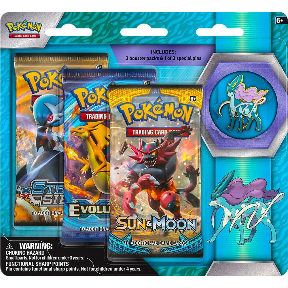 Legendary Beasts Suicune Collector's Pin Blister 3 Booster Pack