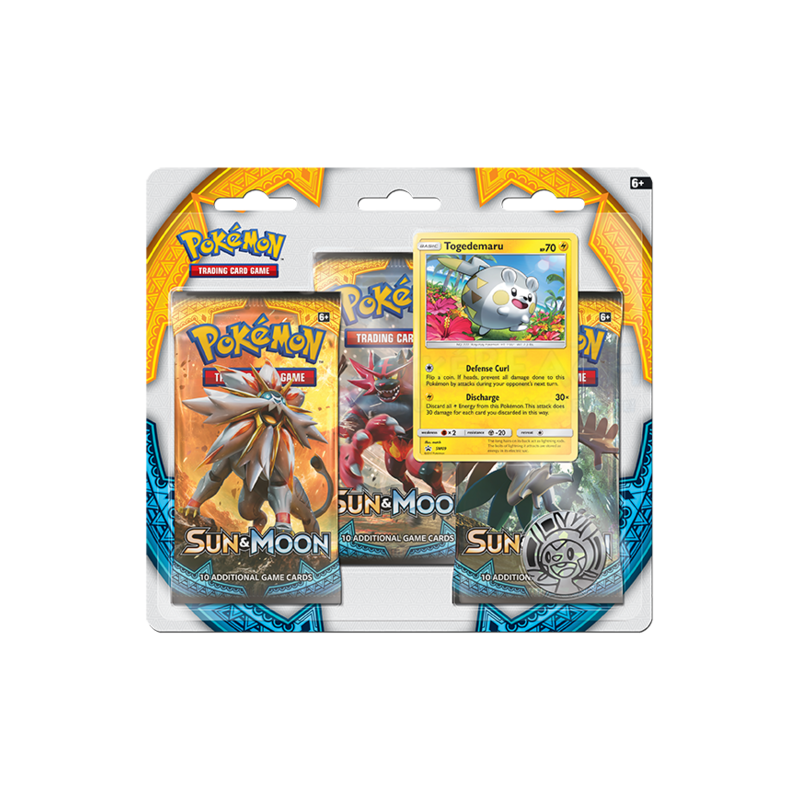 Sun & Moon Togedemaru 3 Booster Pack Blister