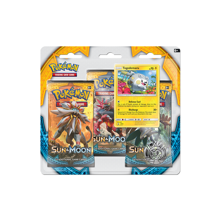 Pokémon Sun & Moon Togedemaru 3 Booster Pack Blister