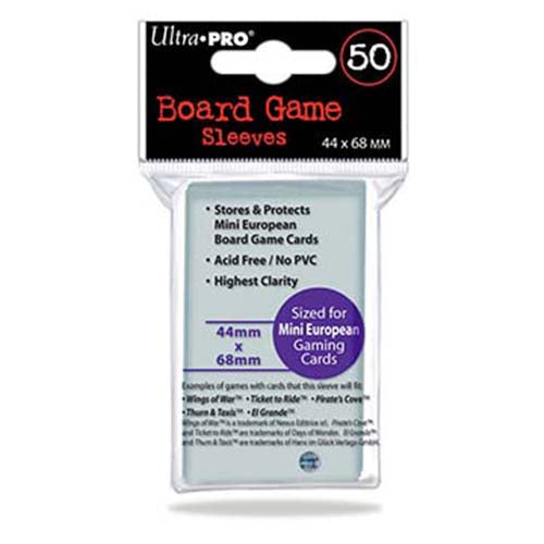 Ultra Pro Board Game Sleeves Mini European 44mm x 68mm Sleeves 50CT