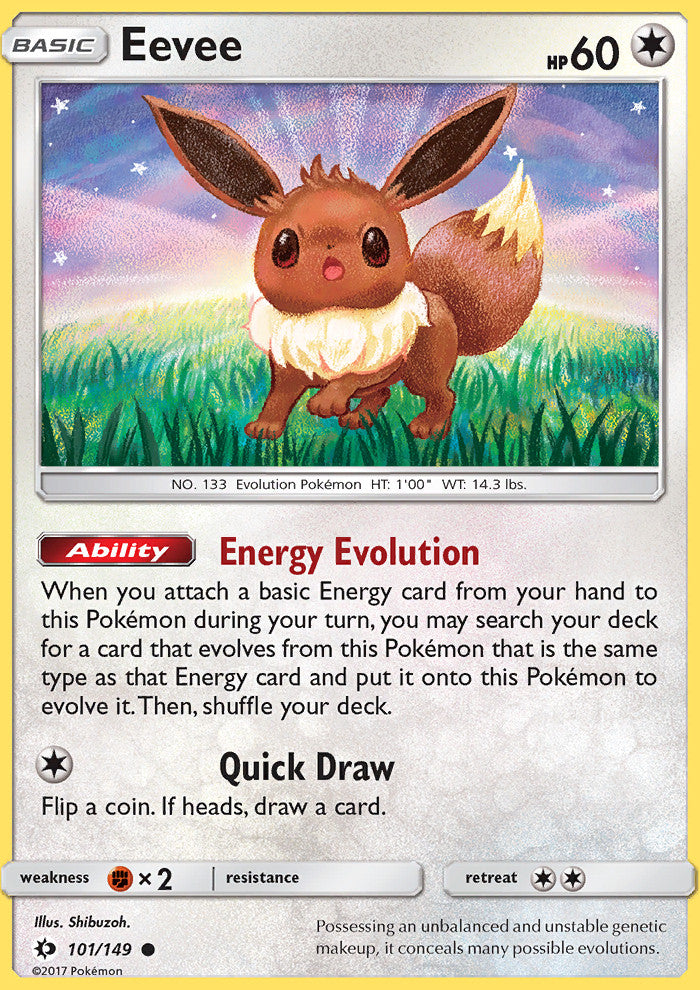Sun & Moon - Eevee - 101/149 - Common - Reverse Holo