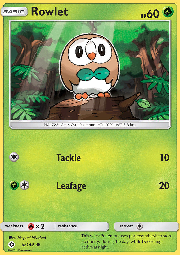 Sun & Moon - Rowlet - 9/149 - Common - Reverse Holo