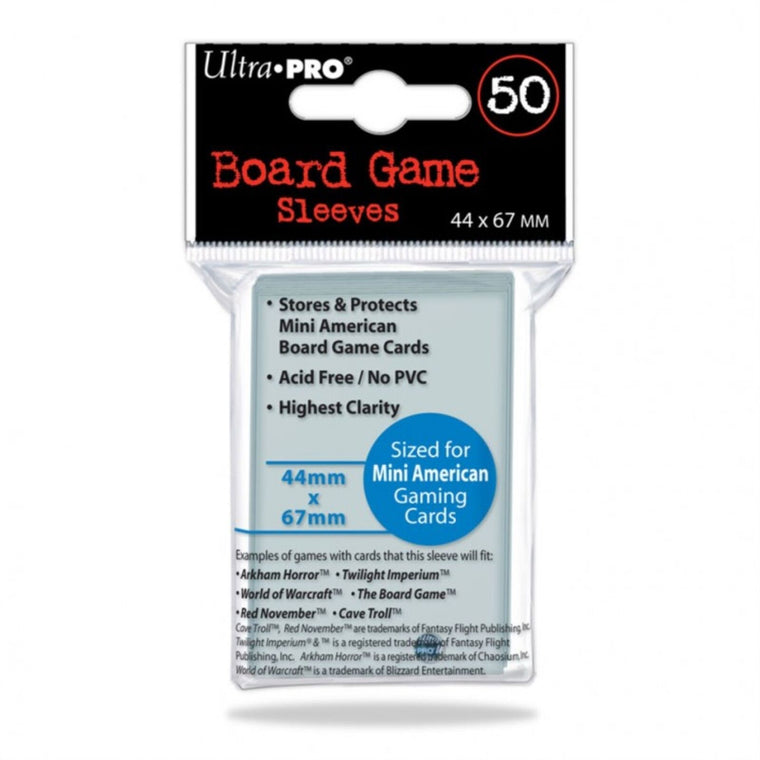 Ultra Pro Board Game Sleeves Mini American 41mm x 63mm Sleeves 50CT