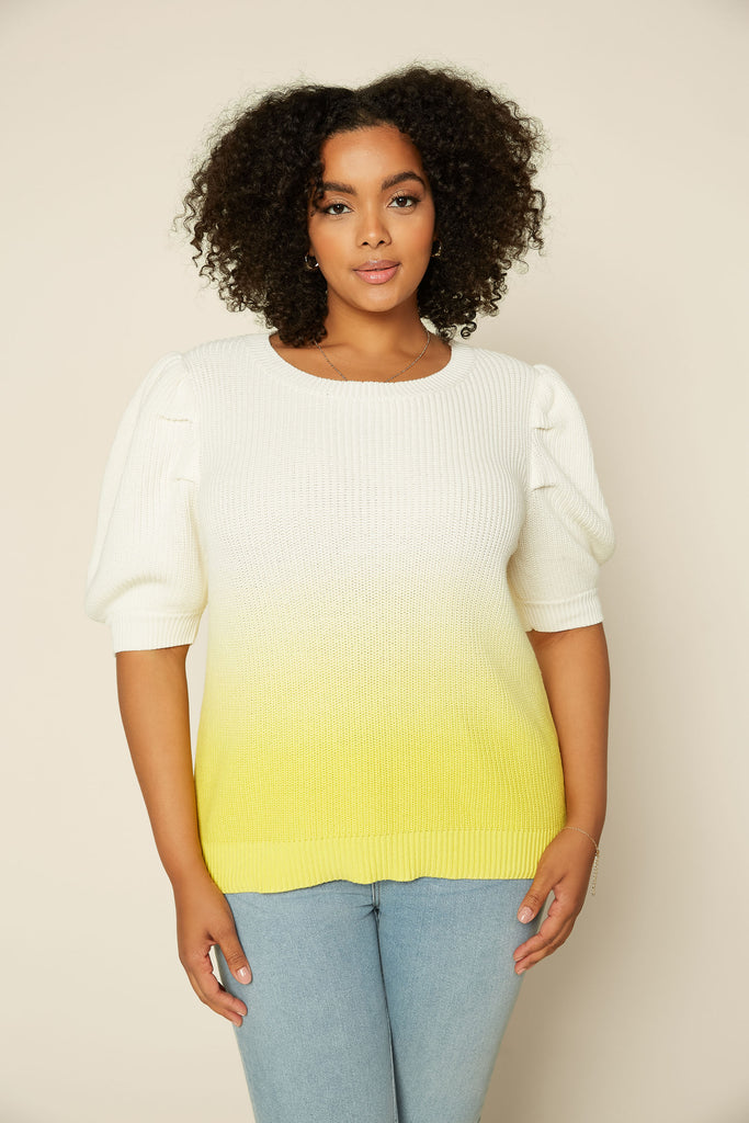 Plus Size - Dip Tie Dye Puff Sleeve Sweater