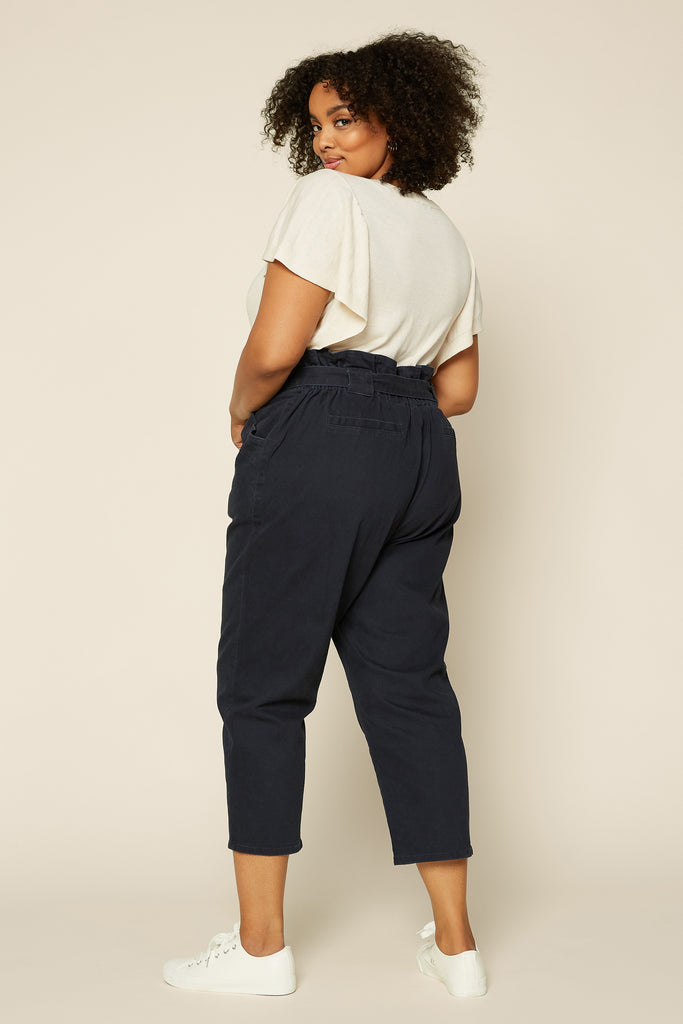 Plus Size - Paper Bag High Waisted Pants