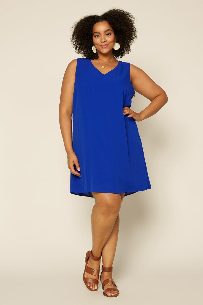 Plus Size- Shift Dress with Back Cutout Detail