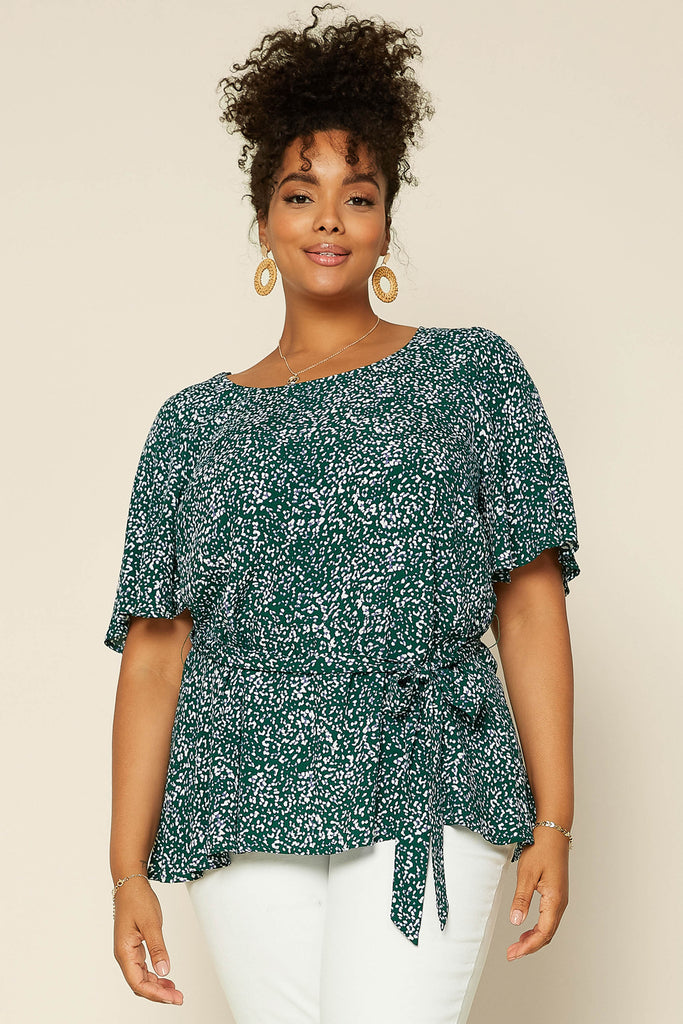 Plus Size - Floral Peplum Top with Waist Tie