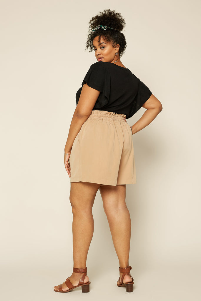 Plus Size - High Waisted Shorts