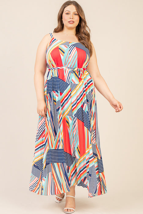 Plus Size - Multi Color Striped Maxi Dress