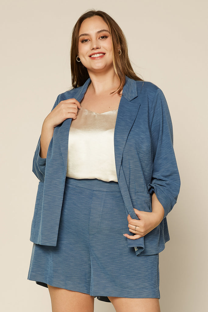PLUS SIZE - STRETCH TWILL KNIT BLAZER