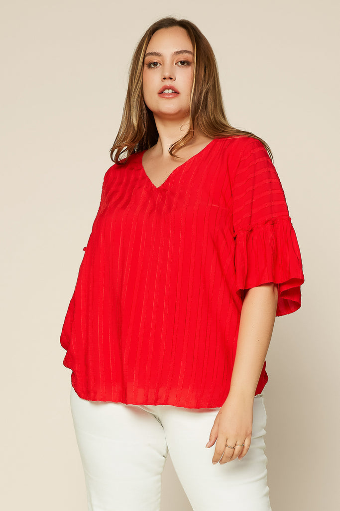 PLUS SIZE - Textured Stripe Blouse