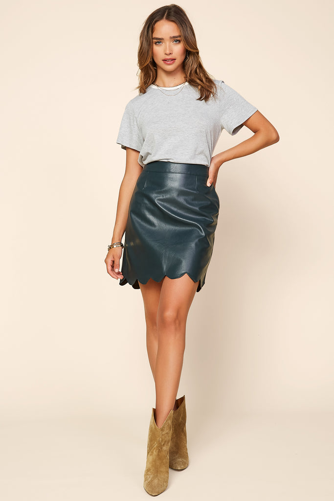 Vegan Leather Scallop Hem Skirt