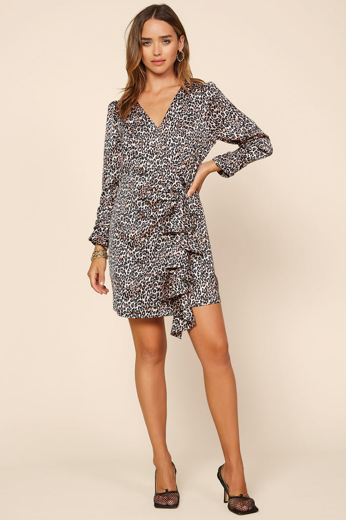 Animal Print Ruffle Mini Dress