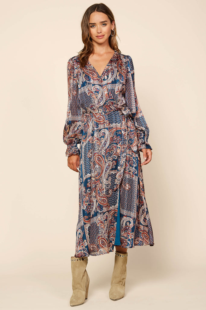 Patch Print Wrap Dress