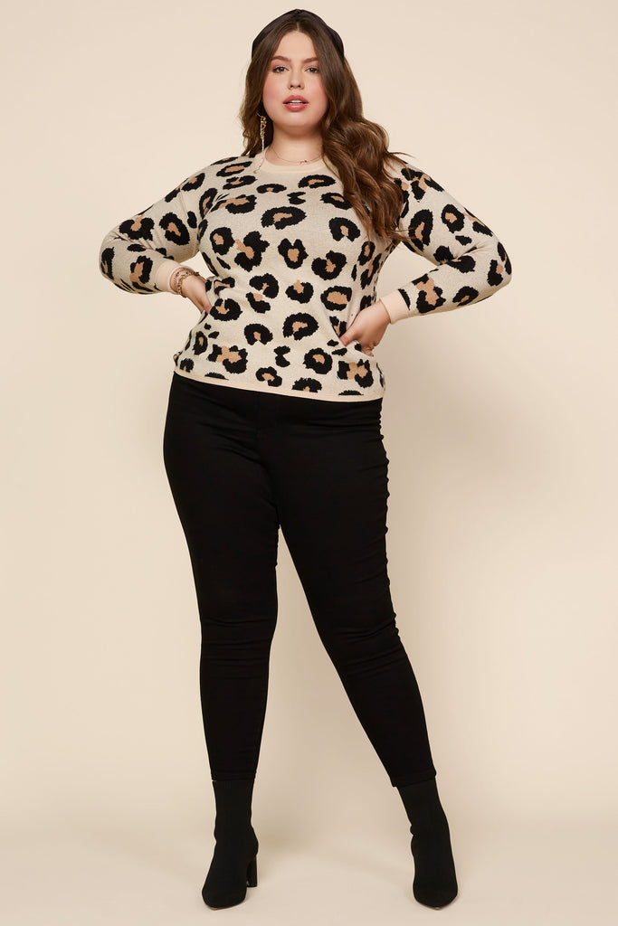 Plus Size - Animal Jacquard Pullover Sweater